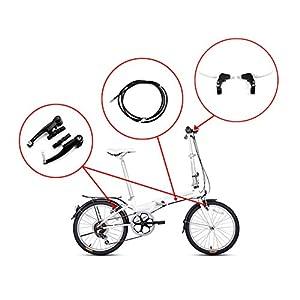 Juego completo de frenos V-brake. Color: negro. Frenos delanteros y traseros para bicicleta MTB híbrida, cables internos y externos y kit de levas. Incluye calibres, cables y todos los accesorios. Color: negro