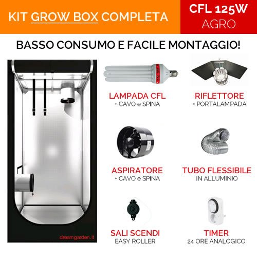 Grow Box DreamGarden KIT COMPLETO 60x60x120 - CFL 125W Agro