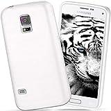 moex Samsung Galaxy S5 Mini | Hülle Silikon Weiß Brushed Back-Cover TPU Schutzhülle Ultra-Slim Handyhülle für Samsung Galaxy S5 Mini Case Dünn Silikonhülle Rückseite Tasche