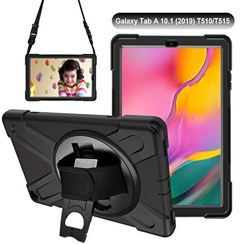 Gerutek Hülle für Samsung Galaxy Tab A T510 / T515 (10,1 Zoll), Stoßfeste Robust Panzerhülle mit Drehbar Stände, Handschlaufe, Schultergurt Schutzhülle für Samsung Tab A 10.1 2019 T510 / T515, Schwarz