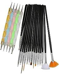 20Pcs/Set Complet 15pcs Brosse Pinceau Ongle+5pcs Stylo Peinture Doubles Pointes à Décor pour Nail Art Manucure - Noir