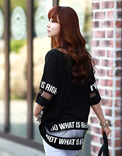 Hqclothingbox Women's Lady Summer Korean Short Sleeve Lace Loose Splice Thin T-Shirt Black