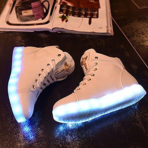 Weiß Glow Sneaker Spor kleines junglest® Led Athletischen Damen top High Handtuch present Light 78wzw