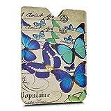 kwmobile Kunstleder Sleeve Tasche für Amazon Kindle Paperwhite - eReader Schutzhülle Schmetterlinge Vintage Design Blau Mintgrün Beige
