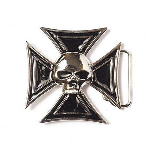 Hebilla para cinturón universal con diseño de calavera con cruz de Malta