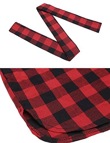 ANGVNS Damen Kariertes Hemdkleid Casual Kleid mit Umlegekragen Langarm Wein Rot