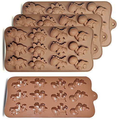 HomEdge - Molde de silicona para bombones de dinosaurio (12 cavidades, 4 unidades, antiadherente, apto para uso alimentario, para dulces, chocolate, gelatina, cubitos de hielo)