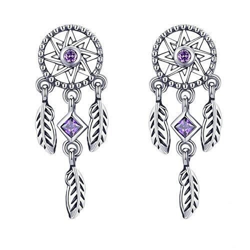 Aruie - Pendientes de plata de ley 925 con diseño de atrapasueños y plumas, hipoalergénicos, para niñas y mujeres
