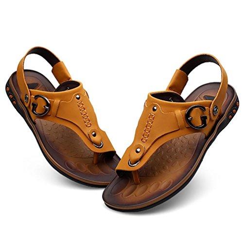 SHANGXIAN Uomo Estate Infradito sandali di cuoio casuali Brown