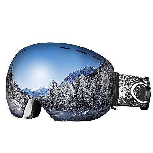JXS-Goggles Skibrille, Doppelschichtlinse, Anti-Fog, Anti-UV, Schneesicher, Objektiv austauschbar, kann mit Myopie-Brillen verwendet Werden,B