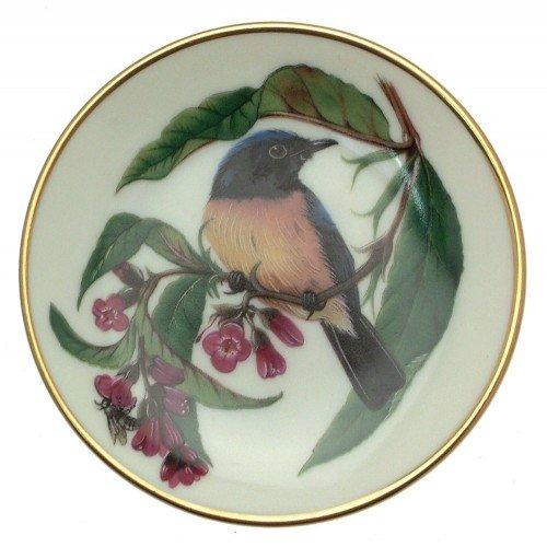 Franklin Porcelain Oiseaux chanteurs du Monde Buse Bellied Niltava Miniature Bird Plaque Cp2457