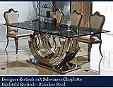 Designer Esstisch Schwarz Edelstahl Esszimmer Tisch Glastisch Glas Hochglanz Schwarzer Glasplatte (200cmx100cmx75cm)
