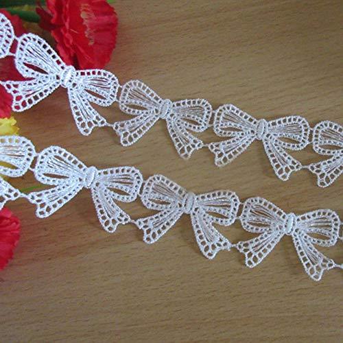 Ruban en dentelle de 4,6m de long et 3,5cm de large - Motif vintage blanc - Décoration à coudre - Pour vêtements de fête, robe de mariée