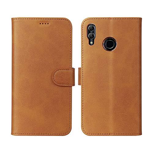 Eastcoo Huawei Honor 10 Lite Hülle Folio Flip Schutzhülle Tasche Handyhülle Cover PU Leder Dünn Premium klappbares Bumper Case [Standfunktion][ Magnetverschluss] [Kartenfach] [Wallet](A-Khaki)
