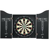 Mightymast Leisure Professional Bristle DARTBOARD Set Including Dartboard, Darts & Accessories Inside A Smart Black Wooden Cabinet