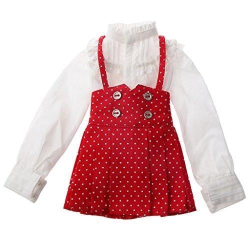 Robe Jarretelle Jupe Ensemble Blouse Vêtement Pour 1/3 Mini Poupées Bjd Accessoire - Rouge blanc
