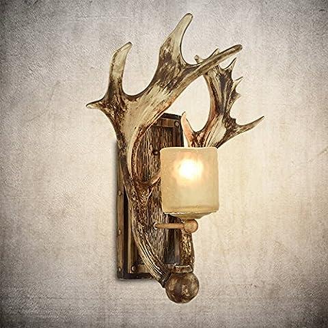 Vintage GaoHX Creative testa di cervo Lampada da parete Lampada