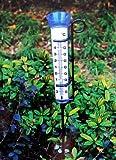 Großer Regenmesser mit Garten-Thermometer und Halterung