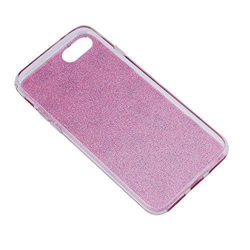 iProtect Apple iPhone 7 TPU Hardcase Schutzhülle mit Glitzerlackierung und silbernen Sternen in Rosa Sterne Rosa