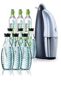 SodaStream Wassersprudler Penguin Office Paket (mit 3 x CO2-Zylinder 60L und 6 x 0,6L Glaskaraffen)