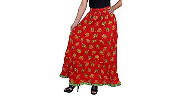 2498574fa Vani Women's Cotton Ethnic Skirt (FrillElephantRed1, Red): Amazon.in:  Clothing & Accessories