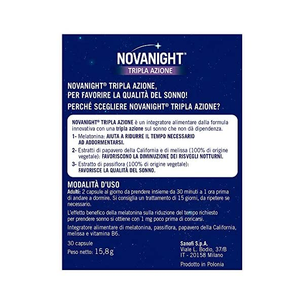 Novanight Tripla Azione Integratore alimentare aiuta a ritrovare il ciclo naturale del sonno con Melatonina, estratti di… 5 spesavip
