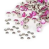 10mm Diamant NIET BOLZEN FÜR Leder Basteln mit bunt Acryl Strass - perfekt für Riemen, Taschen oder Hundehalsband von Trimming Shop (Packung von 50) - Hot Pink, 10mm