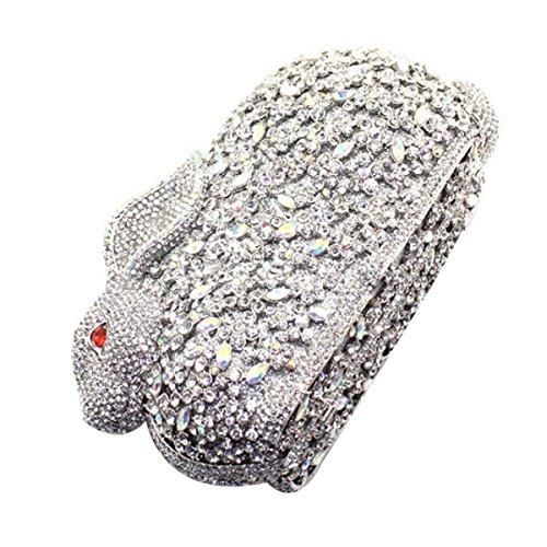 Frauen-Luxus-Diamant-Kaninchen Abendtasche Diamant-Handtasche Silver