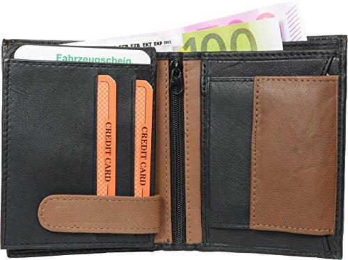 Geldbörsen/Portemonnaie Hochformat Echt-Leder (schwarz/tan-orange) -