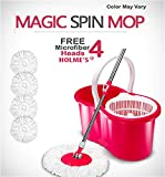 HOLME'S Bucket Magic Spin Mop PVC Double Drive Hand Pressure with 4 Micro Fiber Refills Household Floor Cleaning (Color May Vary)