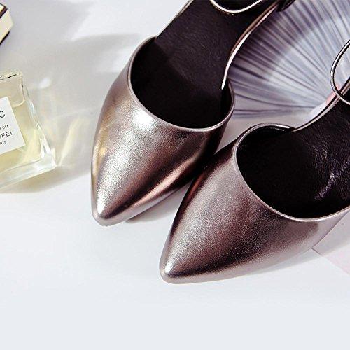 L@YC® Frauen Spitz Sandalen Wort WöLbung Sommer Flache Unterseite High Heels Tanz BüRo Kleid Schuhe Black