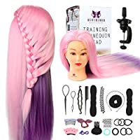 Neverland Beauty Colorful Cosmetology Mannequin Doll Head 100% Synthetic Training Hair Styling Manikin Head with Free Clamp + Hair Styling Braid Set(24 inch)