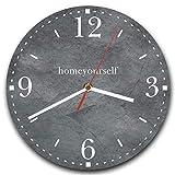 Homeyourself LAUTLOSE Runde Wanduhr Grau anthrazit Stein Optik aus Metall Alu-Verbund lautlos Uhrwerk rund modern Dekoschild Bild 30 x 30cm
