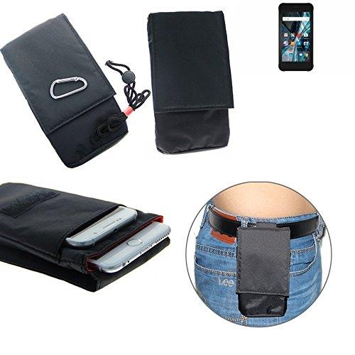 K-S-Trade Gürteltasche Archos Sense 47X Brusttasche Brustbeutel Schutz Hülle Smartphone Case Handy schwarz Travel Bag Travel-Case vertikal