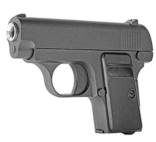 Nick and Ben Vollmetall Pistole Airsoft Waffe 1G schwarz unter 0,5 Joule ab 14 Jahre Federdruck ABS 6 mm ca. 13 cm ca. 330g Einzelschuss Kinder-Pistole Munition Magazin Airsoft-Waffe