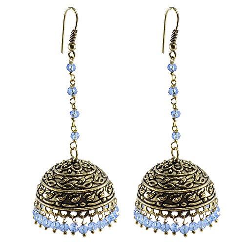 Explicative tanzanite cristallo lega ossidato tradizionale Jhumki earrings-jaipur collezione di gioielli con tribale da Silvesto India pg-29241 - Collezione Tribal