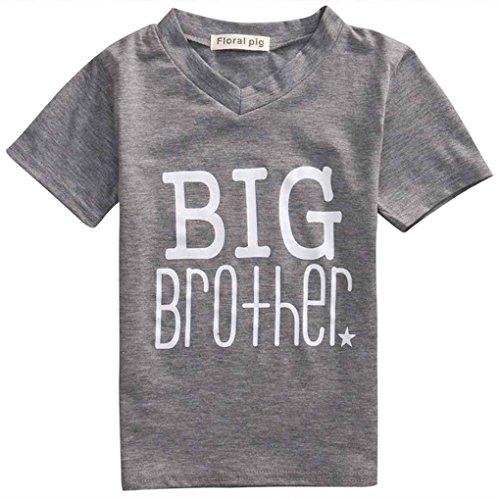 Mengonee Schöne Nette Baby Spiel Kleidung Kleinkind Brief Druck Overall Mädchen Big Brother Tops Kleiner Bruder Strampler (Kleinkind Mädchen Spielen Kleidung)