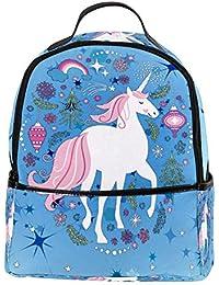 Unicornio doble cremallera mochila de viaje de bolso de la escuela para niños,31x14.