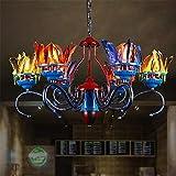 YQRDDD Lampadari Lampadario Industriale retrò 6 luci Lampada a Sospensione a Sospensione in Ferro Vintage con Paralume in Piume Naturali Multicolore per Cucina, Bar, caffetteria, Ristorante