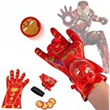 Avengers Iron Man / Spiderman / Captain America Gloves With Disc Launcher Single Hand Glove With Light And Sound (Ironman)