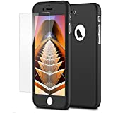 iPaky 360 Protective Body Case with Tempered Glass for Apple iPhone 7 - Black