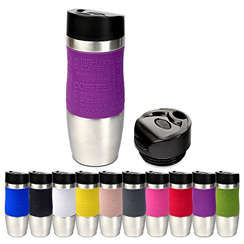 Schramm Thermobecher in 10 Farben inkl. Ersatzdeckel Isolierbecher ca. 400ml Thermoisolierbecher Kaffeebecher Travel Mug Reisebecher BPA-frei Coffee to go Becher, Farbe:Lila