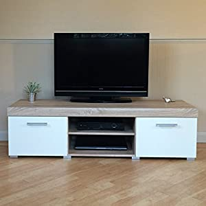 White & Sonoma Oak Sydney Large 2 Door TV Cabinet 140cm Unit