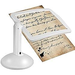 Lupa LED - Lupa con luz en blanco Lupa Luz LED para Lectura, Lupas para lectura aumento de Lente Gigante Iluminada Sin Distorsión para Libros, Exploración, Inspección y Mapas