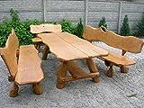 Rustikale Sitzgruppe aus Eiche für den Garten - Langer Tisch 2,50m aus Holz und 2 Bänke mit Rückenlehne