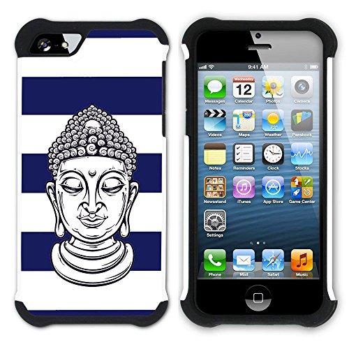 Graphic4You Buddha-Kopf Linien Muster (Orange) Hart + Weiche Kratzfeste Hülle Case Schale Tasche Schutzhülle für Apple iPhone SE / 5 / 5S Marineblau