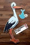 SET - Babystorch & Baby JUNGE & Beschriftungstafel für draußen Geburt Storch-Holz Klapperstorch Holzstorch BLAU