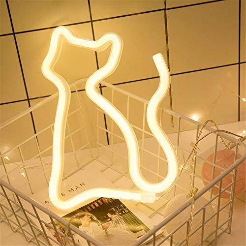 GLITZFAS LED Schlafzimmer Dekorationen Lampe Mauer Beleuchtung Star Mond Wolke Regenbogen Wolken Geformt LED Licht Beleuchtung zum Kinder Erwachsene (Kitty warmweiß Battery+ USB) -
