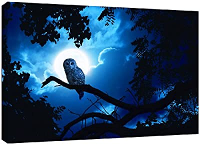 MOOL Large 32 x 22-inch Moonlight Owl Scene Canvas Wall Art Print Hand Stretched on a Wooden Frame with Giclee Waterproof Varnish Finish Ready to Hang, Blue