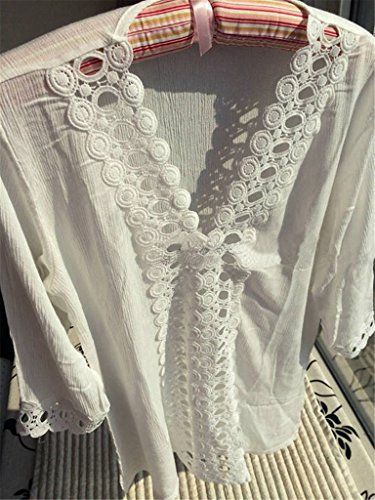 ERGEOB Damen Strankleid Perforierte Nähte Spitze V-Ausschnitt Badeanzug Bikini Kittel Strand Rock shwarz/weiss/rosa 03 rosa